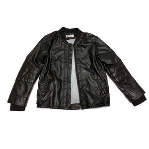 Kids black (leather like) jacket SIze 6-7